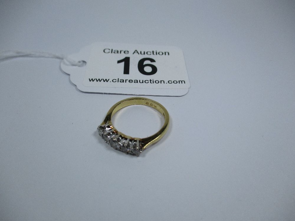Lot 16 - An 18ct gold 5 stone diamond ring, approx finger size J
