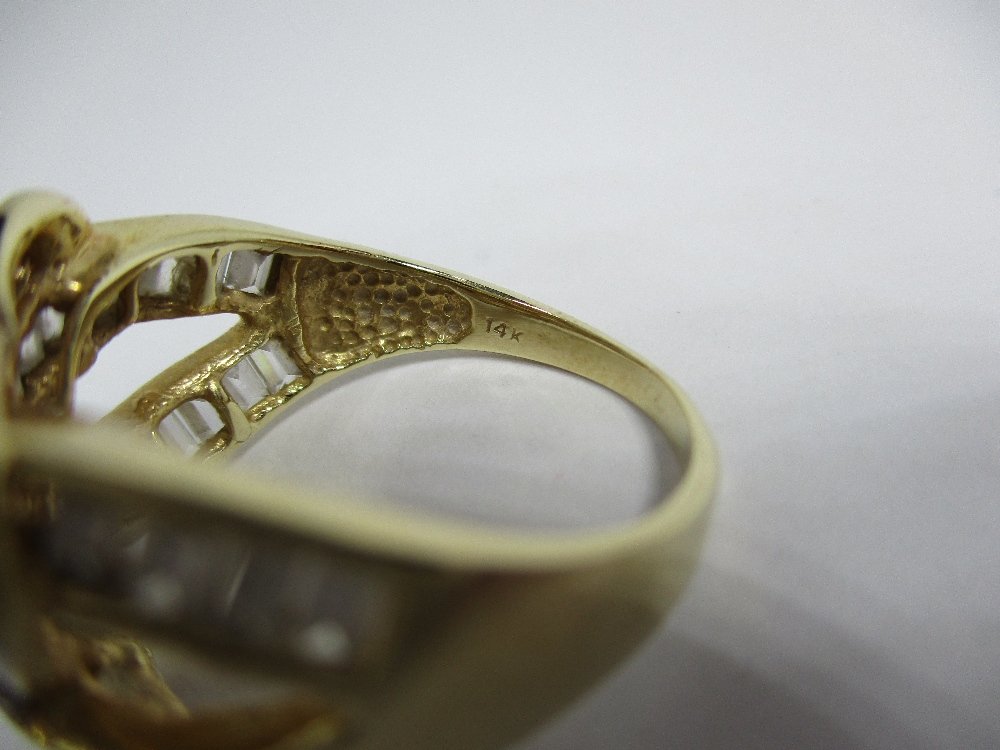 Lot 1 - A dress ring marked 14K