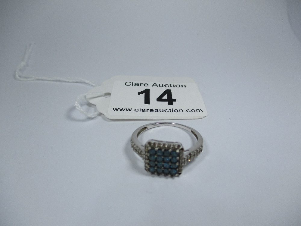 Lot 14 - A 9ct white gold and irradiated blue coloured diamond ring, approx finger size S