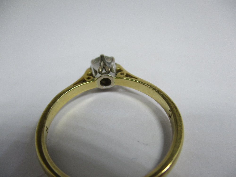 Lot 13 - An 18ct yellow gold diamond solitaire ring, approx finger size O1/2