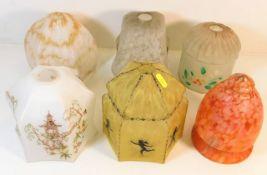 Six vintage glass lamp shades