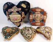 Five early 20thC. WW1 sweetheart cushions. Provena