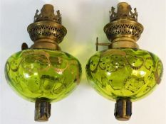 A pair of 19thC. French candlestick oil lamps 6.75