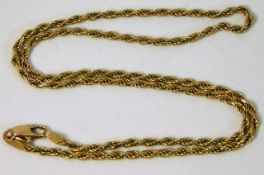A 9ct gold rope chain 16.5 long 7.4g