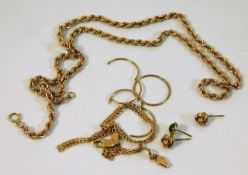 A 9ct rope chain a/f twinned with other 9ct gold i