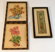 Two framed floral watercolours on silk type materi