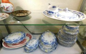 A quantity of mostly blue & white Burslem Coronati