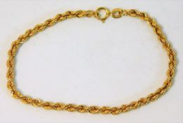 A 9ct gold bracelet 7in long 1.6g
