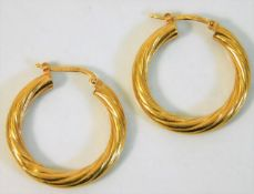 A pair of 9ct gold hoop earrings approx. 29mm 3.2g