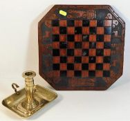 A carved chess board twinned with a 19thC. brass c