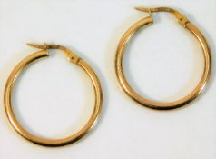 A pair of 9ct gold hoop earrings 1.5g approx. 24mm