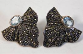 A pair of silver art deco marcasite earrings with blue stone a/f rear pin requires re-soldering