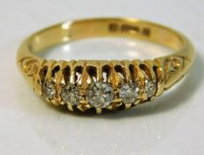 An antique 18ct gold five stone diamond ring appro