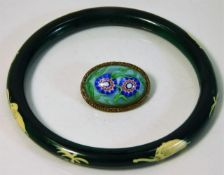 A millefiori brooch twinned with a stained bangle