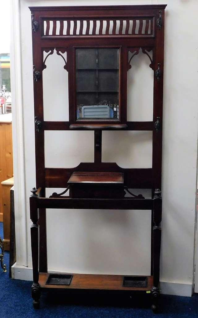Lot 48 - An Edwardian mahogany hall stand with mirror, coat