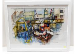 """A framed, signed charcoal & watercolour """"Boats On"""