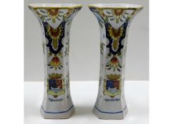 A pair of early 20thC. French faience vases with D