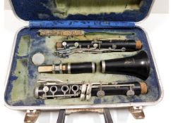 A Boosey & Hawkes clarinet, case lining a/f