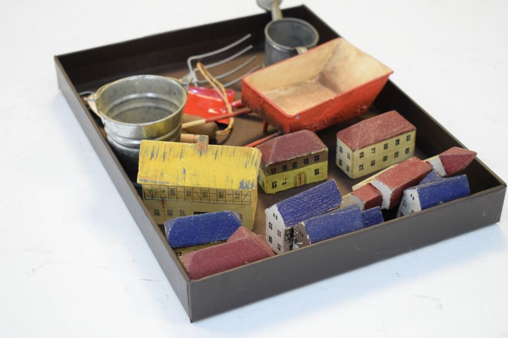 Quantity of small painted wooden buildings, together with tin bucket, trowel etc - Image 4 of 4