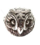 Silver bar brooch cast as the head of an owl, approximately 4cm wide, 0.4toz approx
