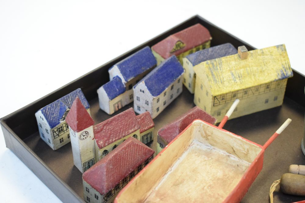 Quantity of small painted wooden buildings, together with tin bucket, trowel etc - Image 2 of 4