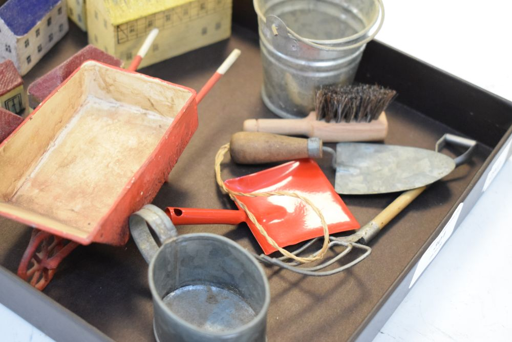 Quantity of small painted wooden buildings, together with tin bucket, trowel etc - Image 3 of 4