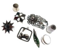 Assorted silver and white metal jewellery to include; Art Nouveau-style filigree flower brooch,