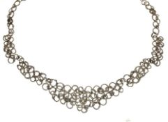Jane Watling silver 'Fused' necklace, frontispiece of panels, London 1998, 46cm long, boxed