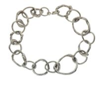 Jane Watling silver 'fused' bracelet, of randomly sized mis-shapen links, London 1990, 20cm long
