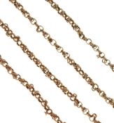 Guard chain of fancy links, tagged but worn, 150cm long, 39g gross Condition: Unmarked. No obvious