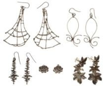Collection of four pairs of Jane Watling silver earrings, all from the 1990's; and a pair of