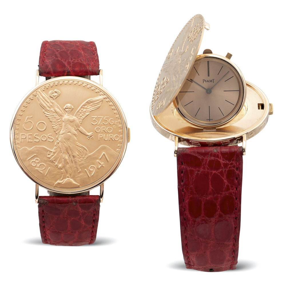 Lot 137 - Piaget, 18kt gold Mexican 50 pesos coin wristwatch 1970s