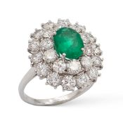 Ring with natural Columbian emerald 1,49 ct weight 6,8 gr.