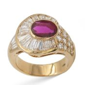 18kt yellow gold with natural ruby circa 1,10 ct weight 8,9 gr.