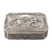 Octagonal silver box Germany, 19th century weight 234 gr. body embossed and decorated with flora