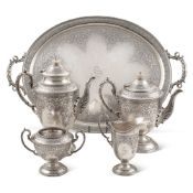 Silver tea and coffee service Sheffield, 1926 29x60x41 cm. marks of Cooper Brothers, bodies engraved