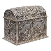 Silver jewelry box Germany, 19th century weight 536 gr. body inlaid with characters, 12x15x9,5 cm.