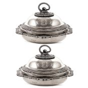 Pair of important silver entrée dishes London, George III, 1805 weight 3882 gr. marks of Paul Storr,