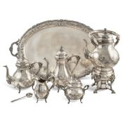 Silver tea and coffee service (6) Germany, 20th century 44x68x41 cm. marks of Sterl Handarbeit,