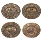 Group of silvered and gilded metal plates (4) Germany, 19th-20th century 31x25,5 cm. oval shape