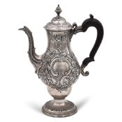 Silver coffee pot London, 1899 weight 982 gr. mark Charles Watts, pear shaped body, chiselled with