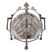 Rare Antique Silver Plated Triple Muffin Bun Biscuit Warmer Germany, 19th century 24x25 cm.