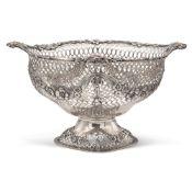 Silver basket London, 1892 17x29x22 cm. marks of Charles Stuart Harris, chiseled body, weight 613