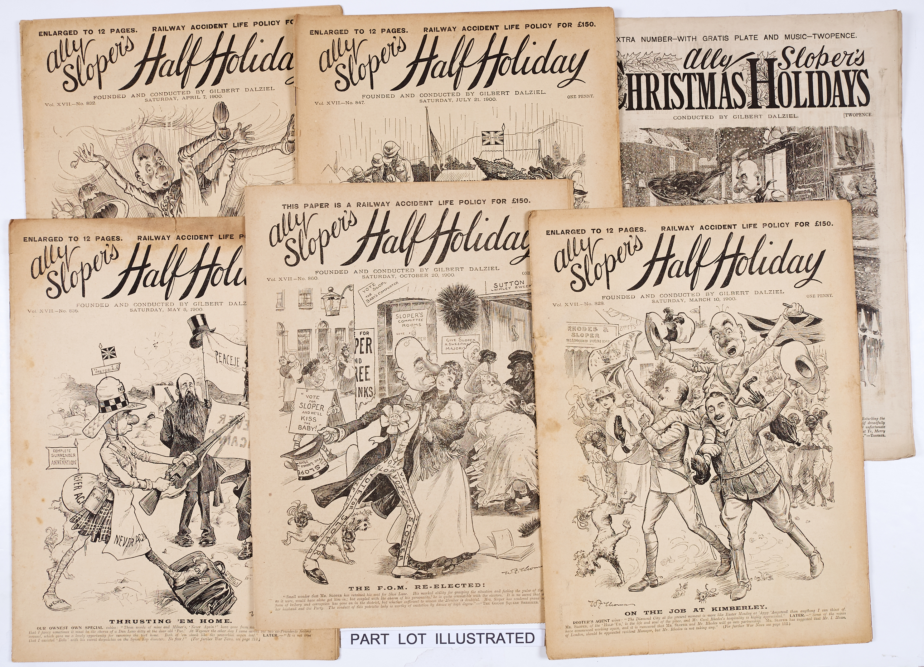 Lot 1 - Ally Sloper's Half-Holiday (1893) 454-505. Complete year including Ally Sloper's Christmas