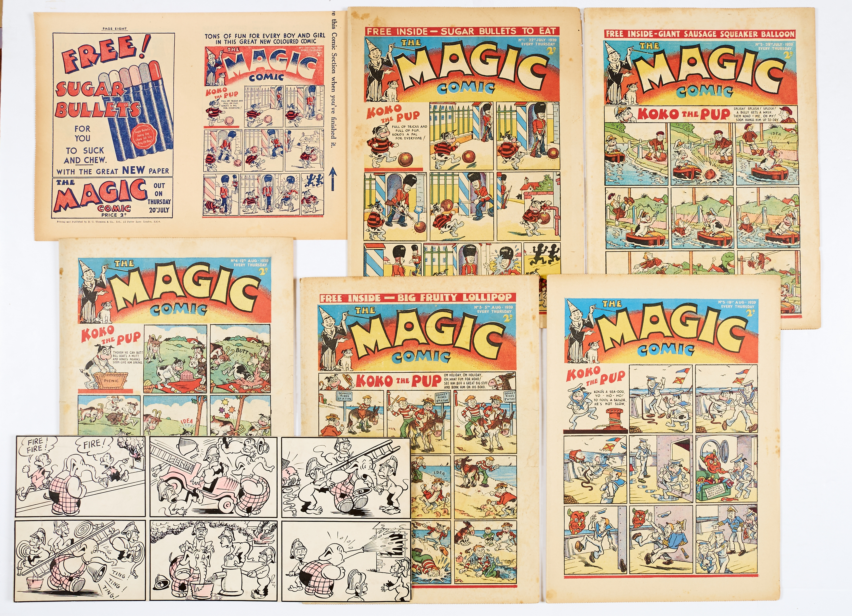 Lot 20 - Magic Comic (1939) 1-5. With Magic comic promotional flyer for No 1 (an 8pg mini comic in its own