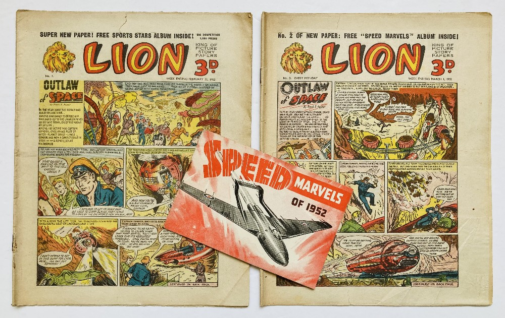 Lot 36 - Lion (1952) 1, 2 with free gift Speed Marvels of 1952 booklet. Introducing Captain Condor by Frank S