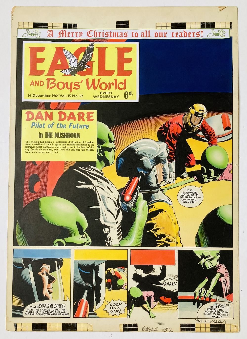 Lot 53 - Dan Dare original front cover artwork (1969) by Keith Watson for The Eagle Vol: 15, No 52. As