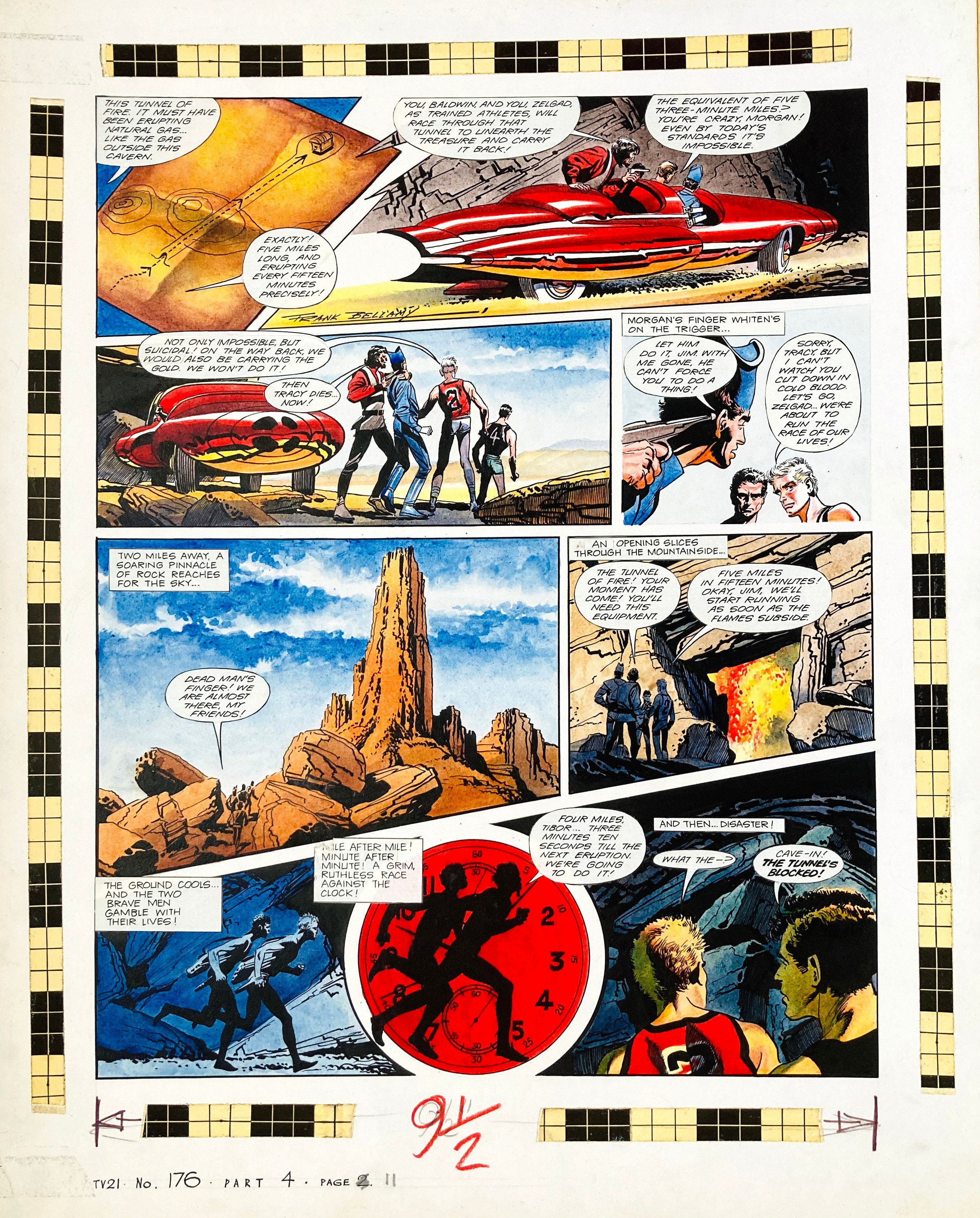 Thunderbirds original artwork (1968) drawn, painted and signed by Frank Bellamy for TV21 No 176. Two