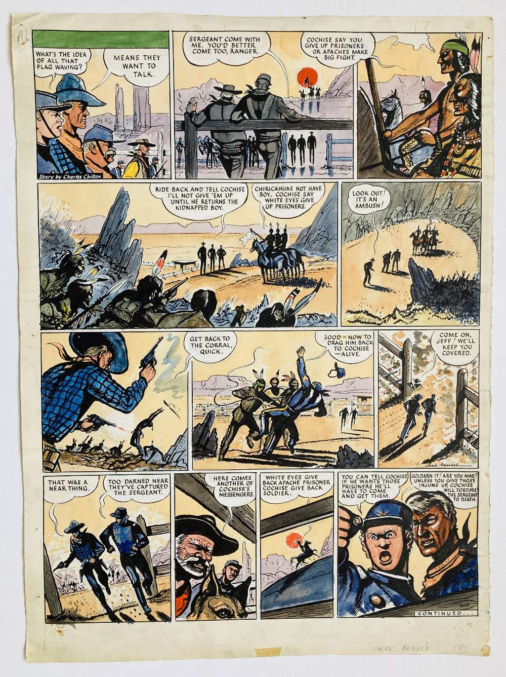 Lot 33 - Riders of the Range original artwork drawn, painted and signed by Jack Daniel for The Eagle (1950-