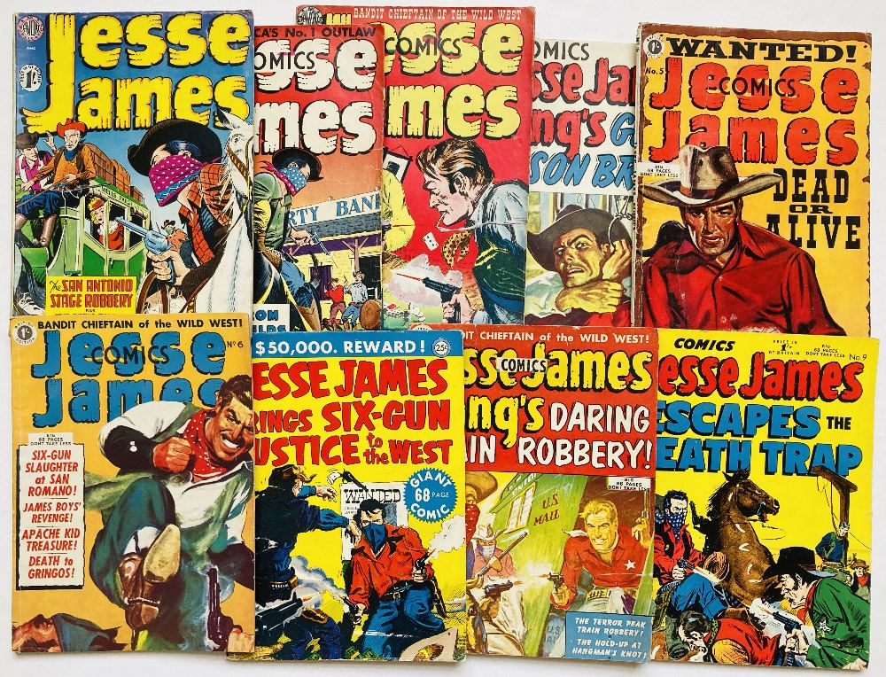 Lot 34 - Jesse James 1-9 (1950. Thorpe & Porter UK reprints). All with covers of the U.S. Avon originals.